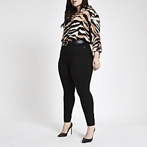 Plus – Harper – Schwarze Jeans mit hohem Bund