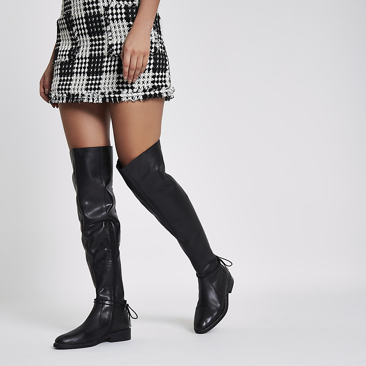 b60e99dece5 Black leather over the knee flat boots - Boots - Shoes   Boots - women