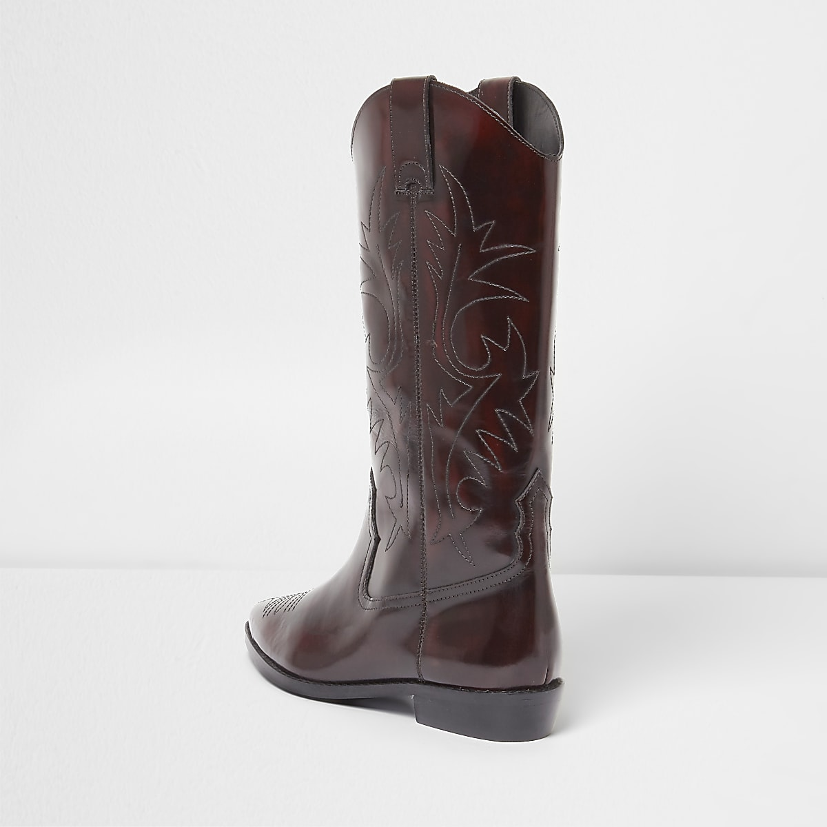 1428d796fe5 Dark red patent knee high western boots