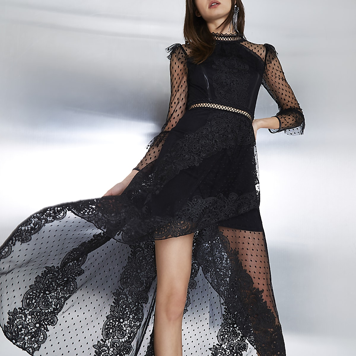 ac860ca422d Black long sleeve lace mesh maxi dress - Maxi Dresses - Dresses - women