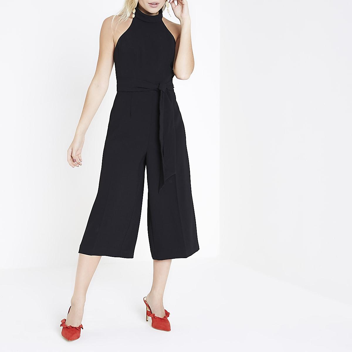 043a685eca5 Petite black high neck culotte jumpsuit - Jumpsuits - Playsuits   Jumpsuits  - women