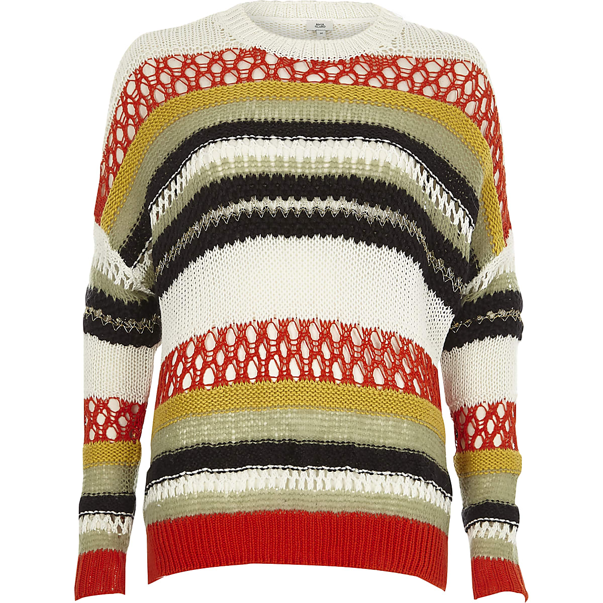 Orange multi color stripe mixed knit sweater