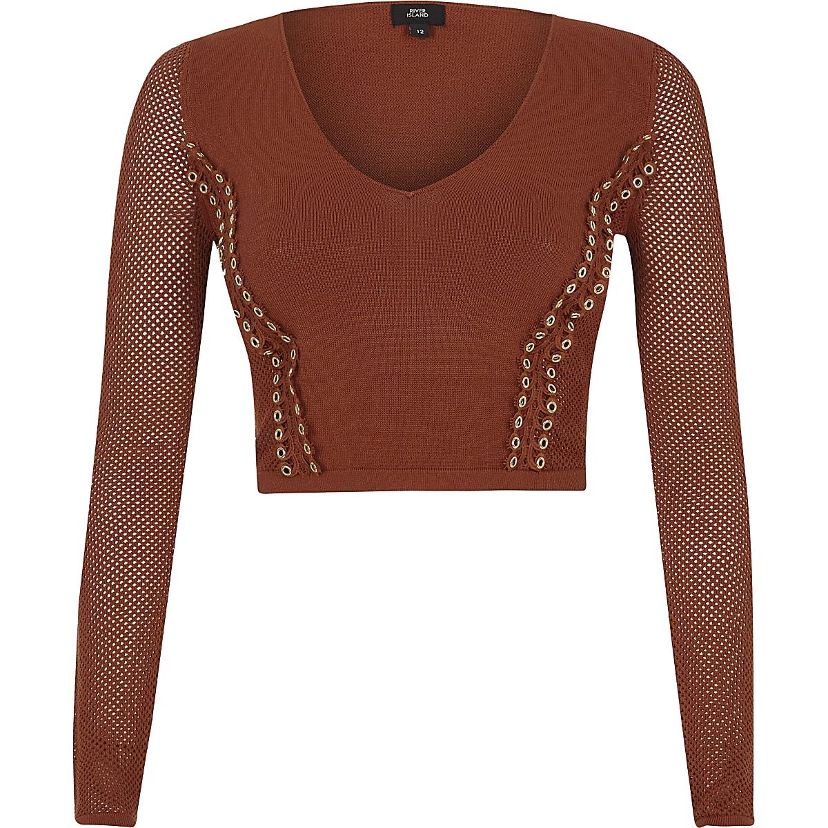 Orange eyelet pointelle knit V neck crop top
