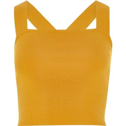 Orange knit strappy D-ring back crop top
