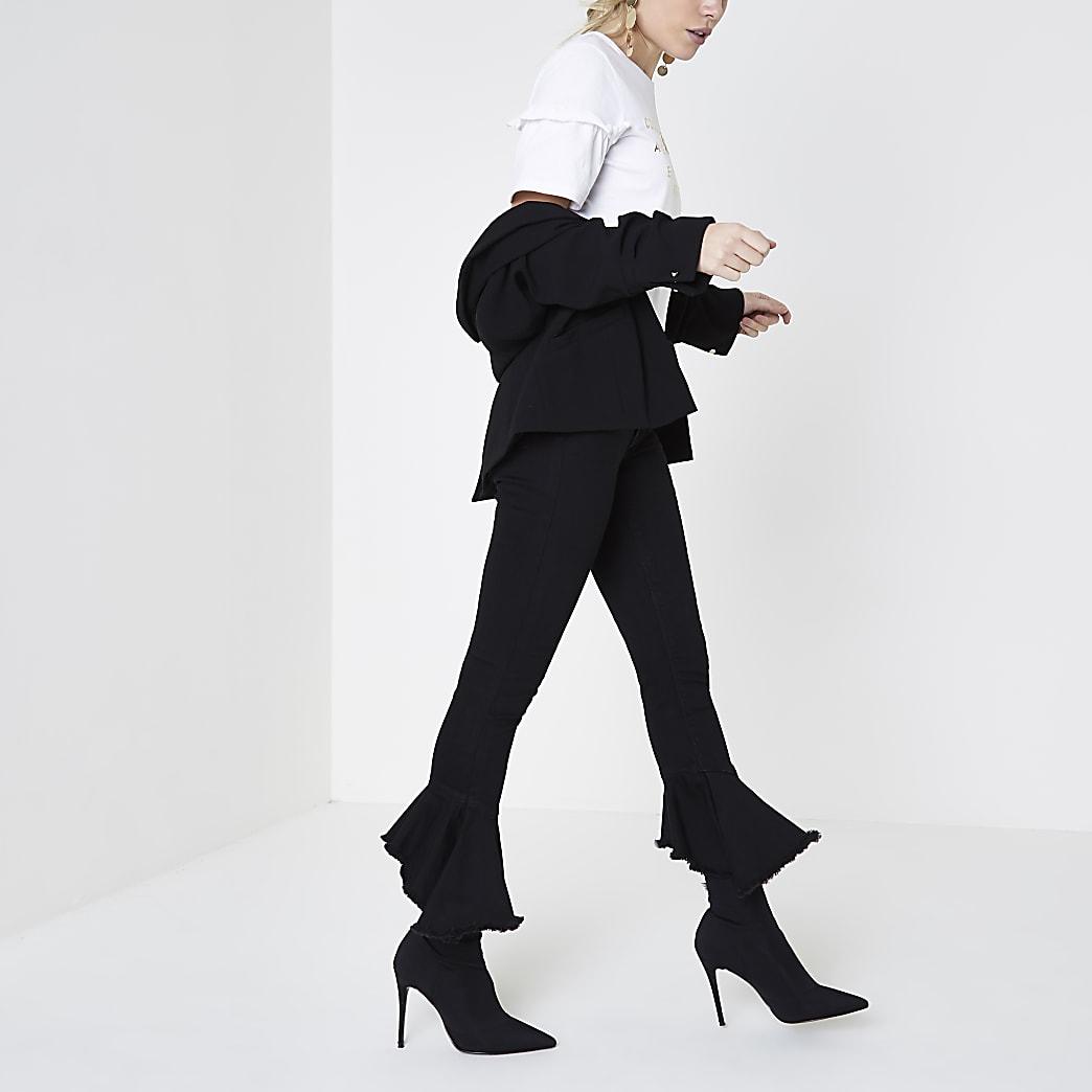 Petite black Amelie frill super skinny jeans