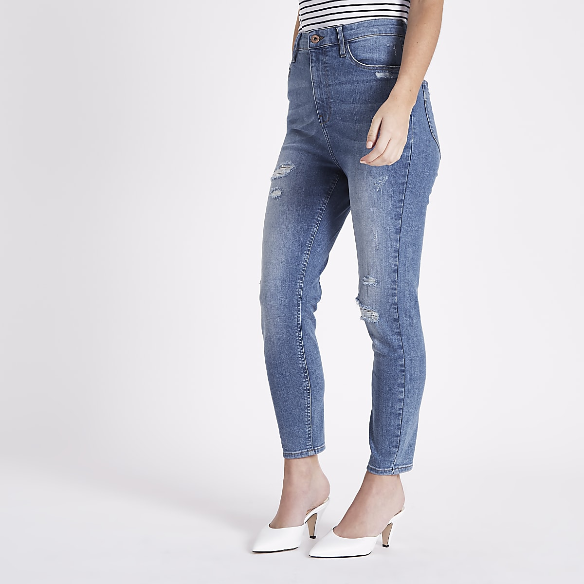 Petite blue high waisted Harper skinny jeans