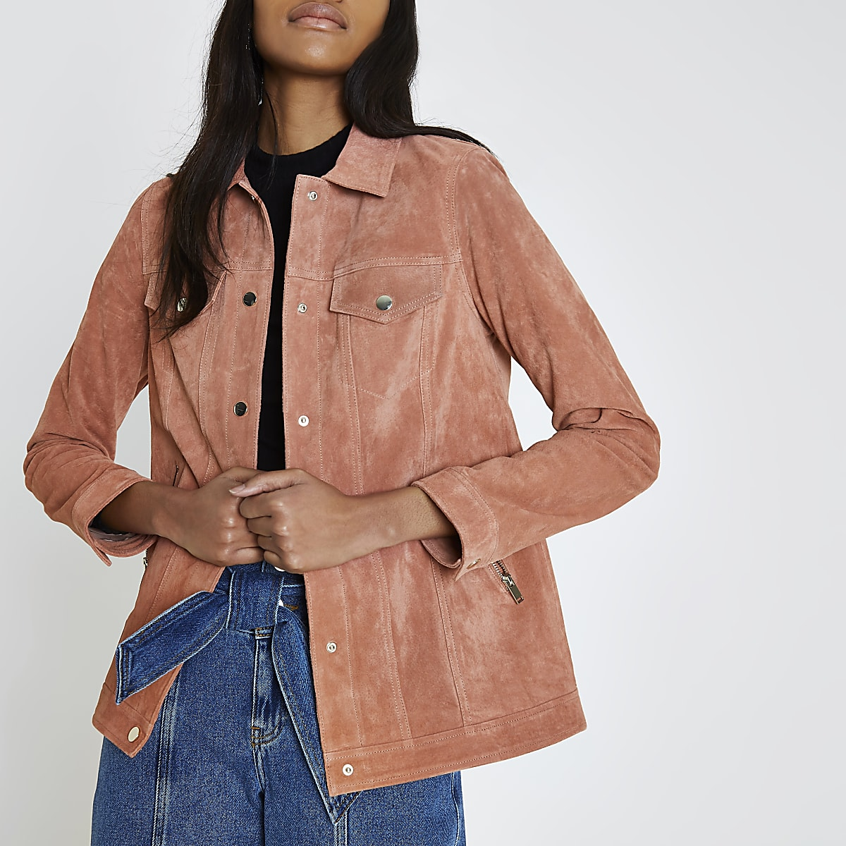Dark pink suede trucker jacket