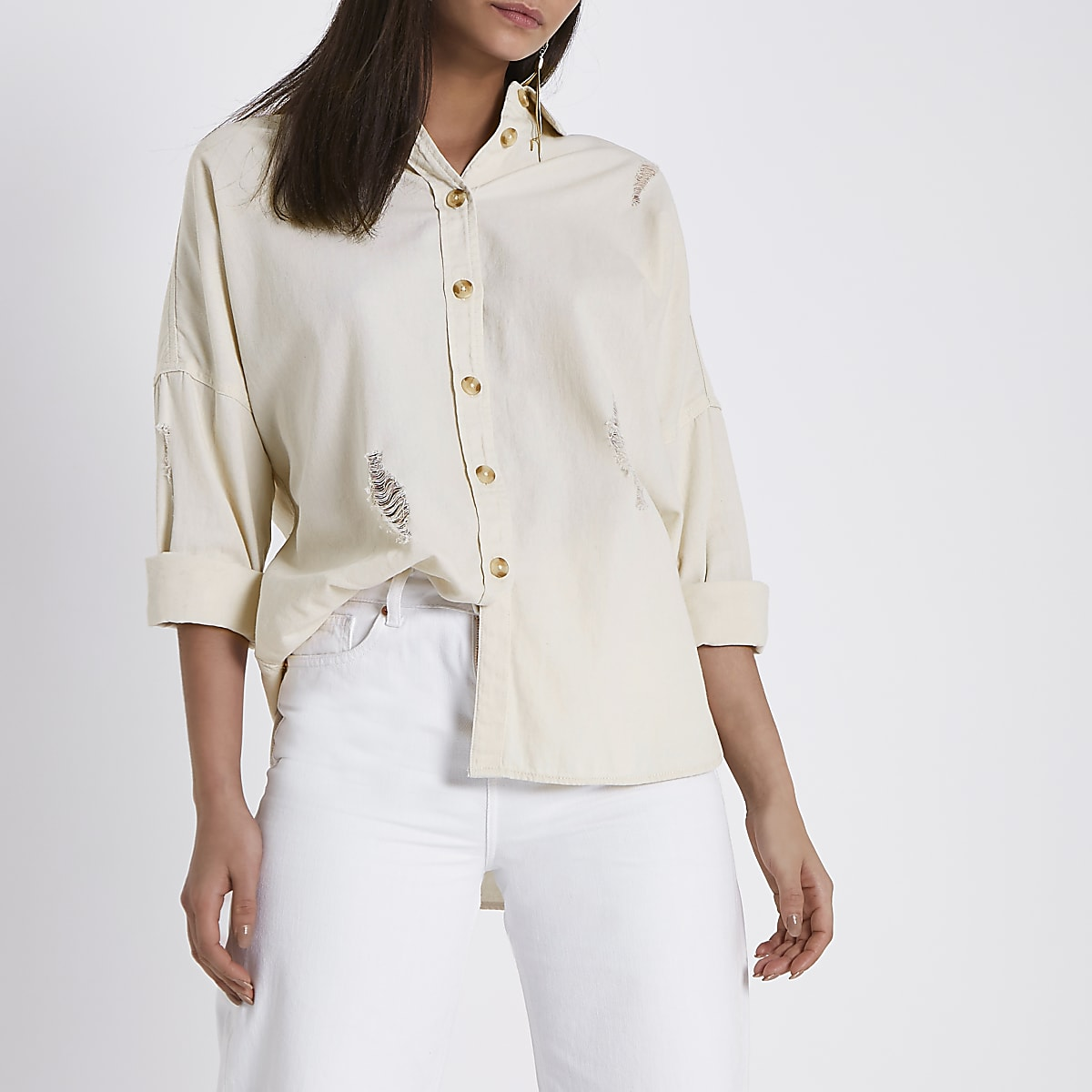 Cream wash distressed denim shirt