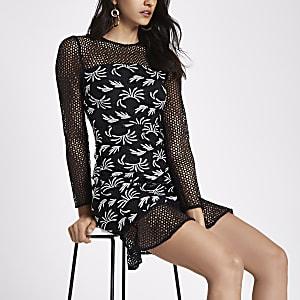 Black mono lace long sleeve bodycon dress