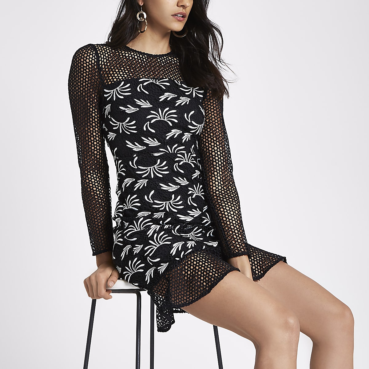 Black mono lace long sleeve bodycon dress