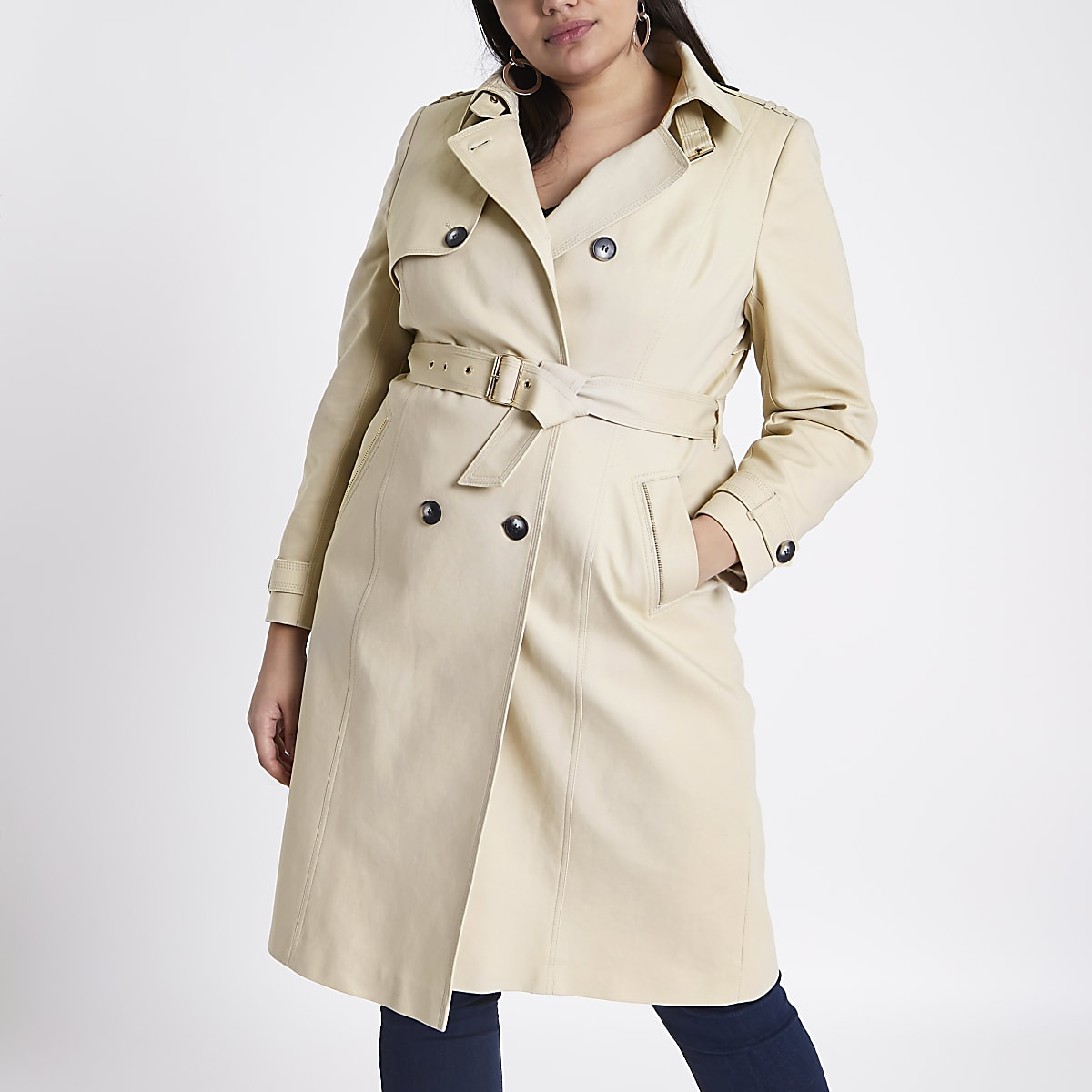 Plus beige belted trench coat