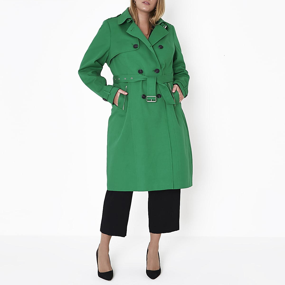 photos officielles a0a55 28ba9 Plus green belted trench coat