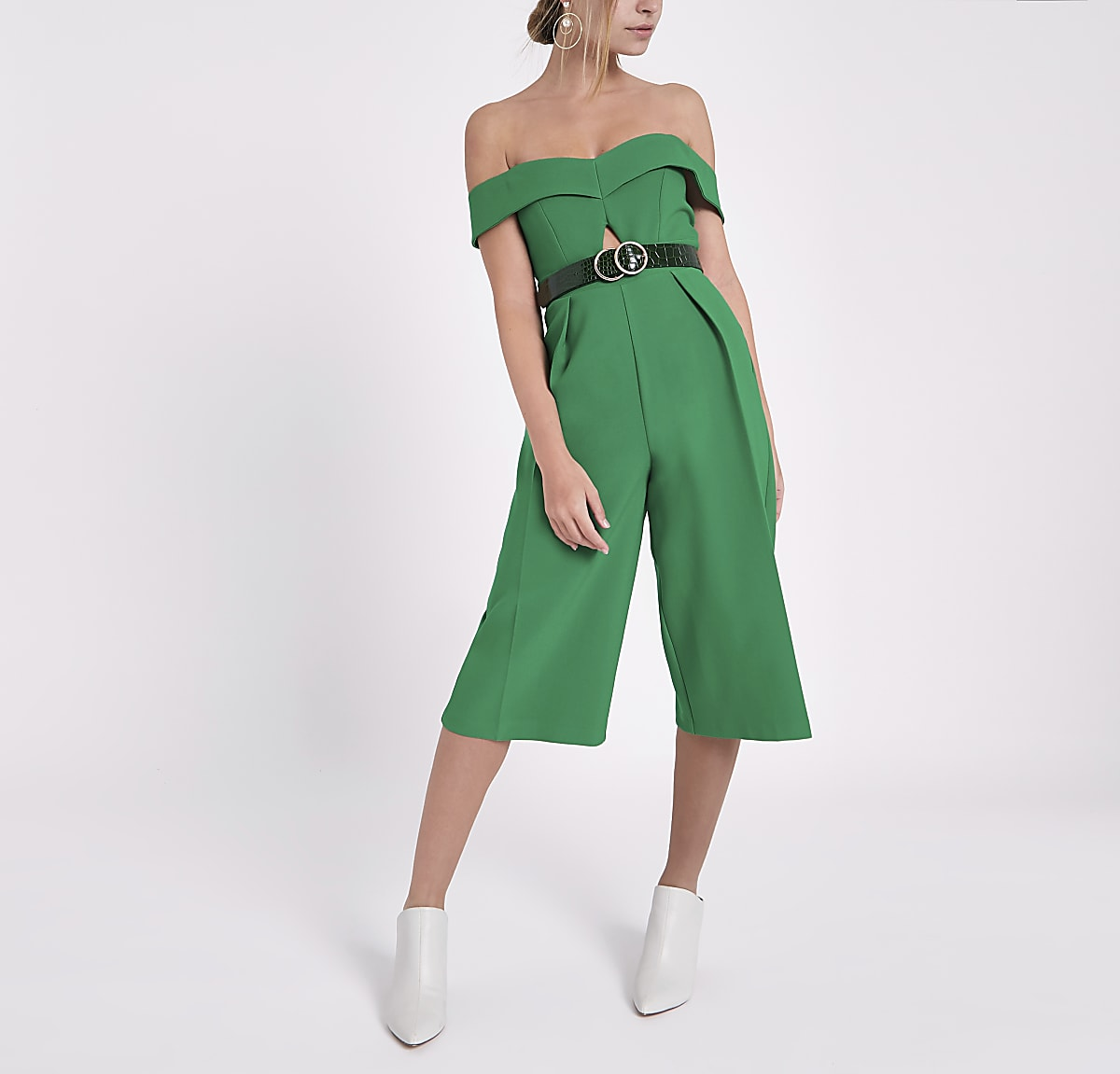 d3b05c0187d Petite green bardot cut out culotte jumpsuit - Jumpsuits - Playsuits    Jumpsuits - women