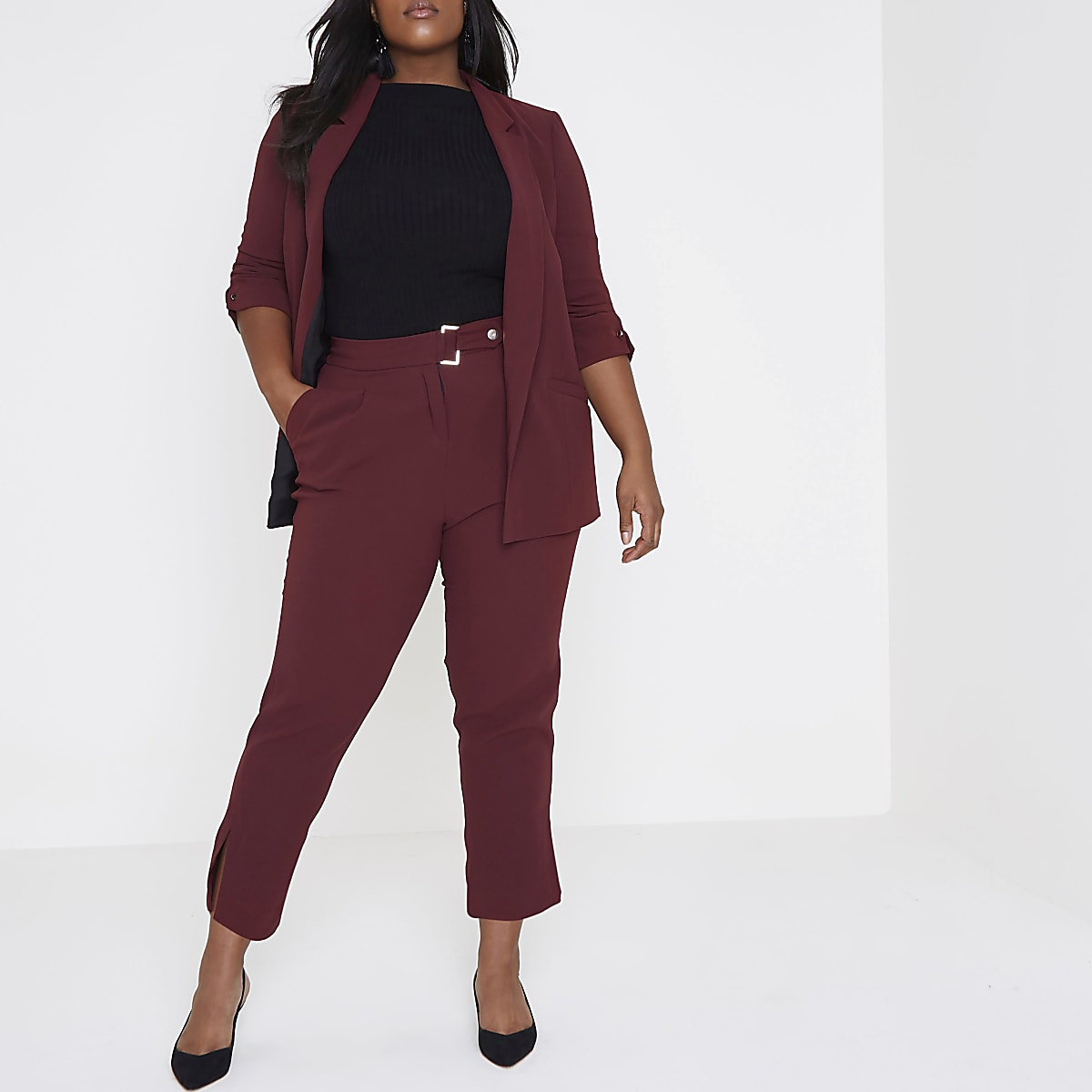 Plus dark red tapered trousers