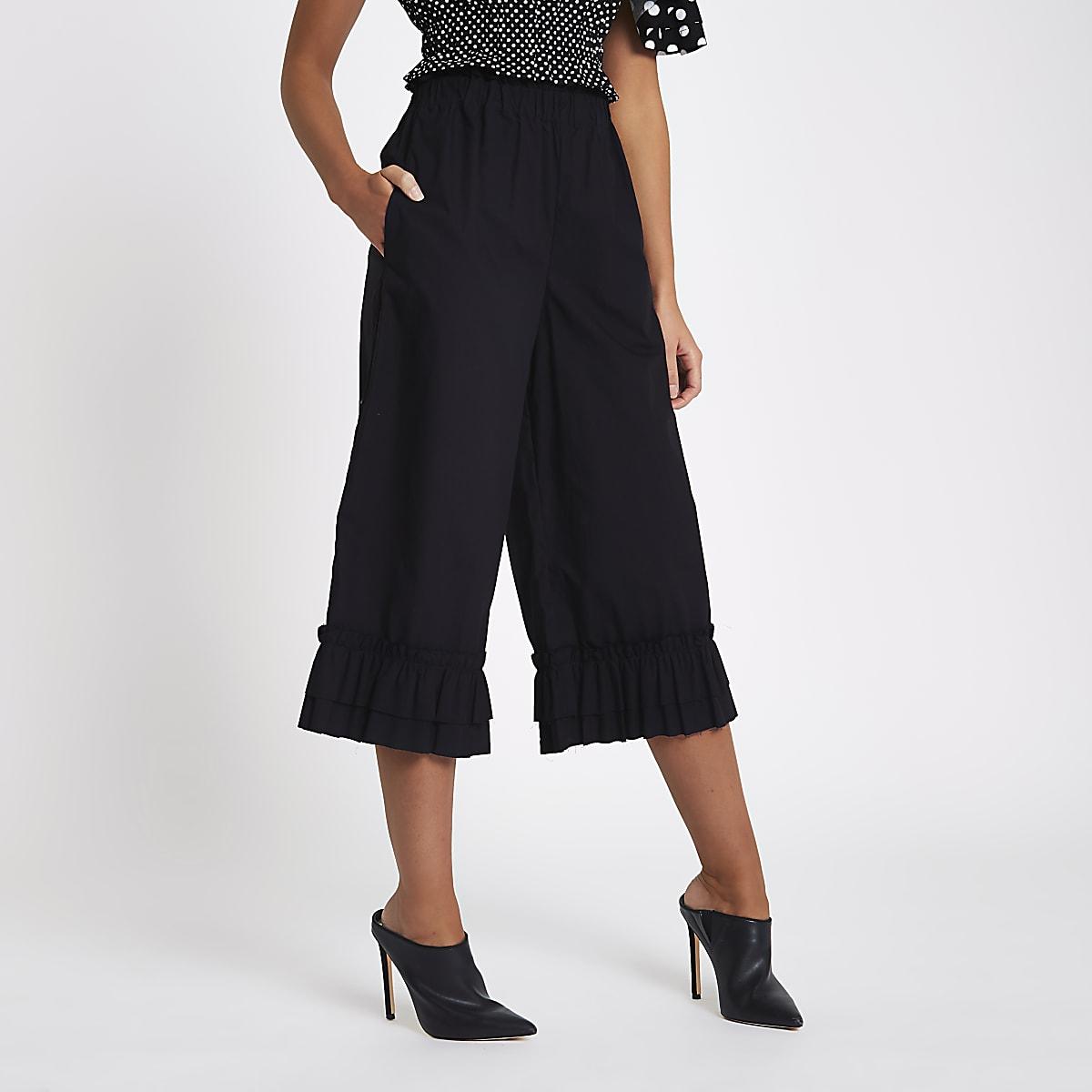Black frill hem wide leg culottes