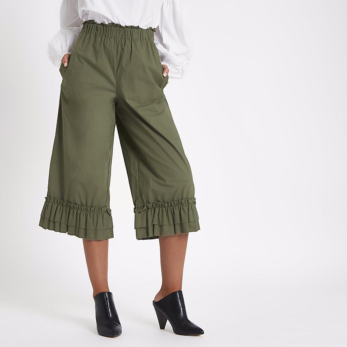 Khaki green frill hem wide leg culottes