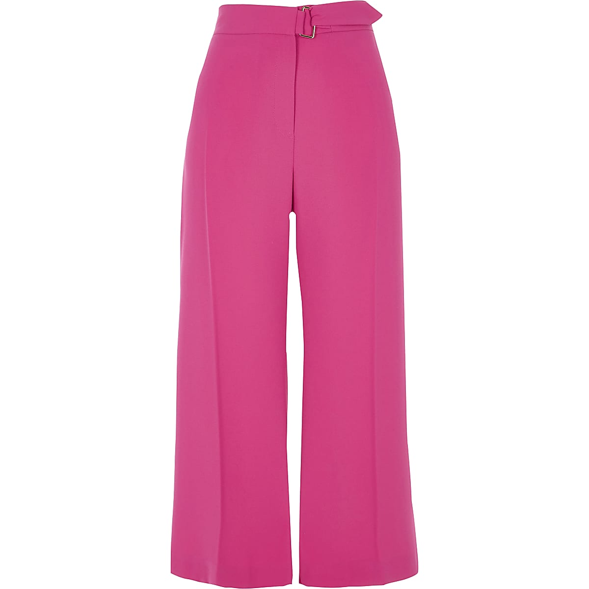Bright pink belted culottes