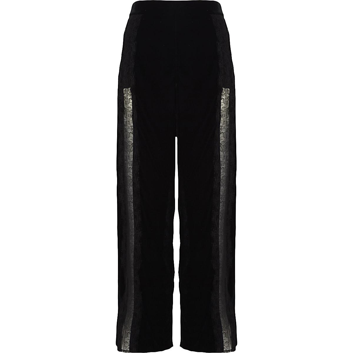 Black velvet lace trim wide leg trousers
