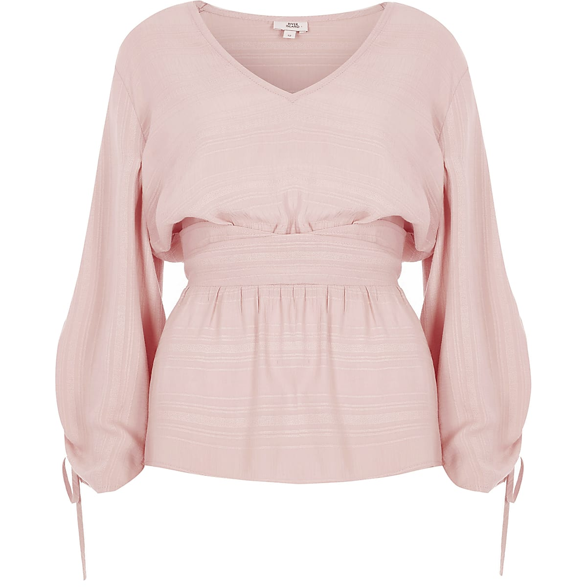 Light pink ruched sleeve waist panel top