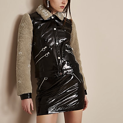 Black Holly Fulton vinyl leather borg jacket