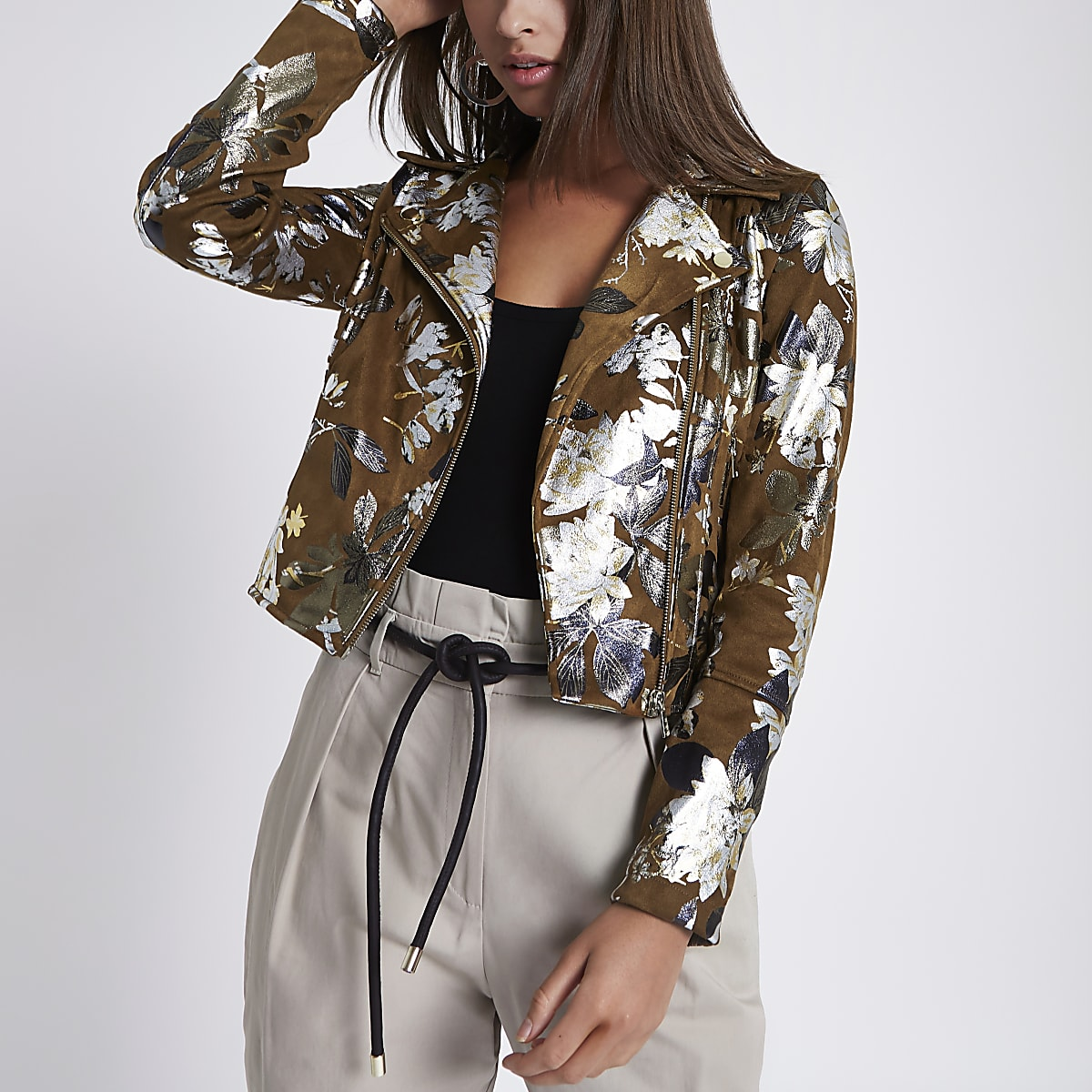Brown foil floral faux suede biker jacket