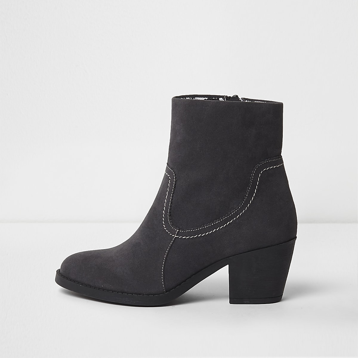 Grey block heel chelsea boots