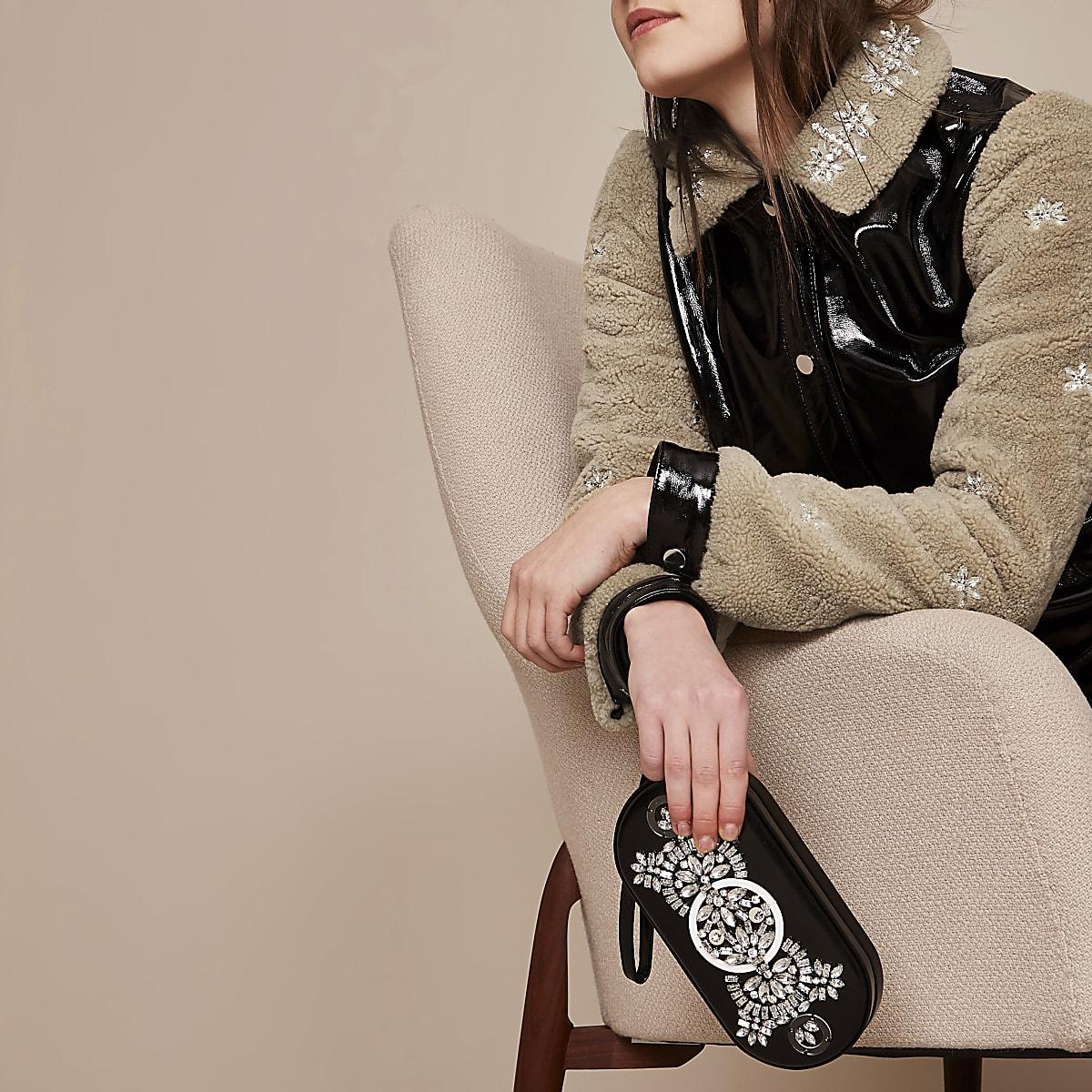 Holly Fulton - Zwarte verfraaide clutch