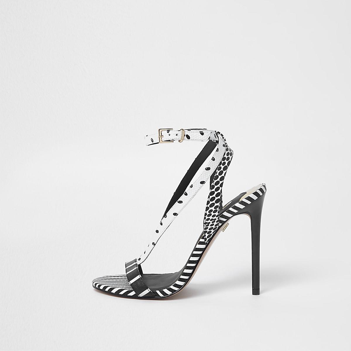 1899e225a67c Black stripe mixed pattern strappy sandals - Shoes - Shoes   Boots - women