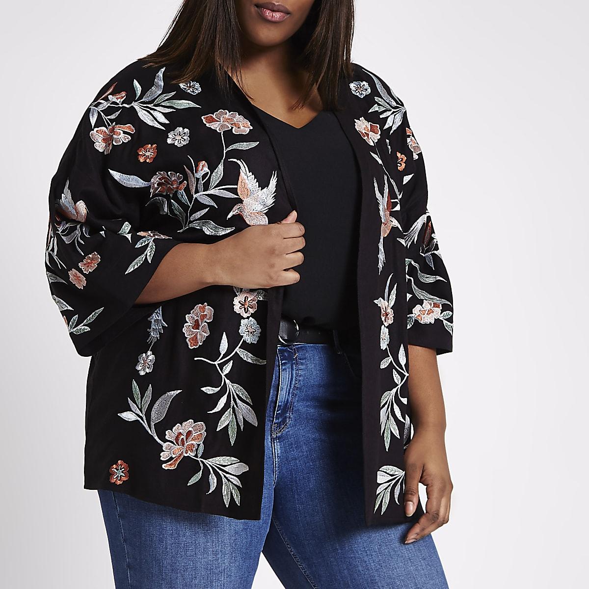 Plus black floral and bird embroidered kimono