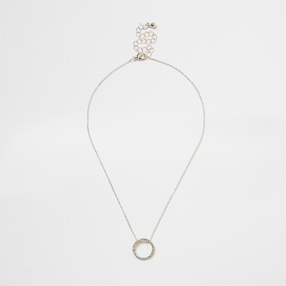 Rose gold tone diamante pave circle necklace