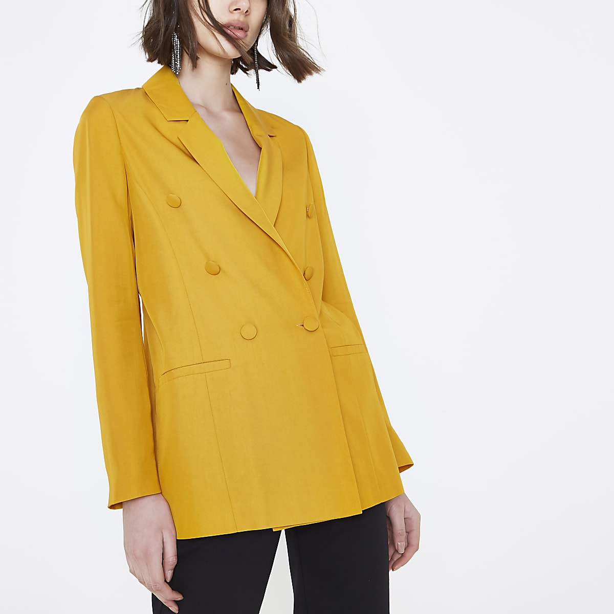 Yellow double breasted longline blazer