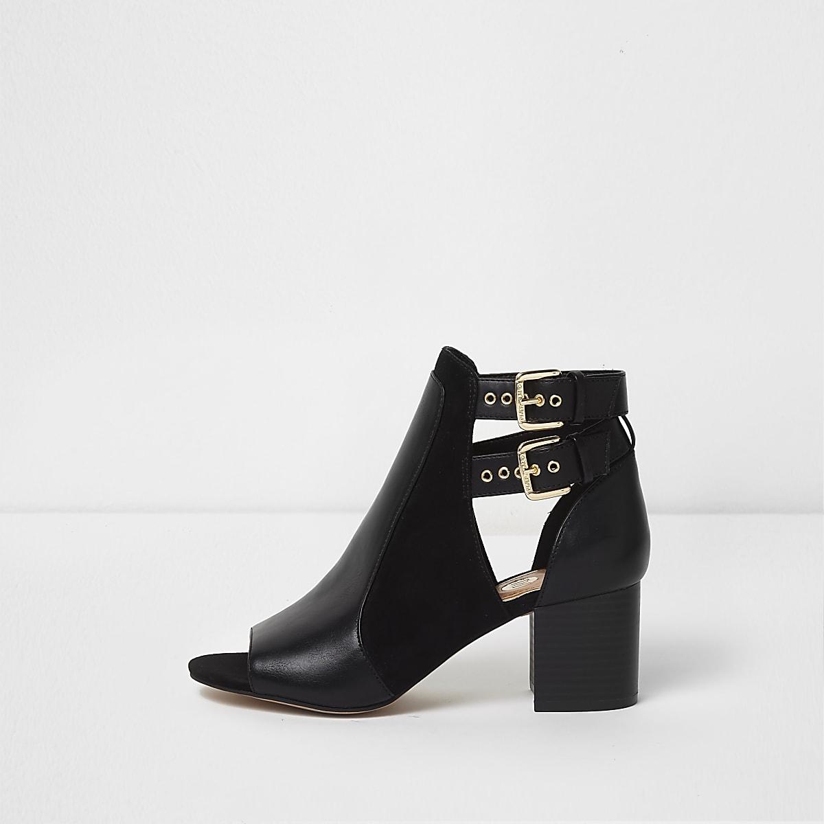 Black double buckle peep toe shoe boots