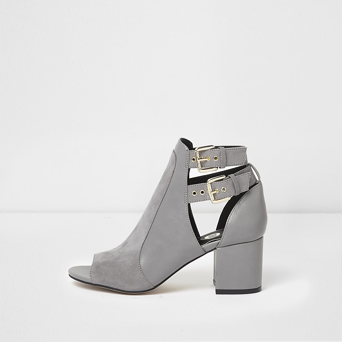 30248cc26c5 Grey double buckle peep toe shoe boots - Shoes - Shoes   Boots - women