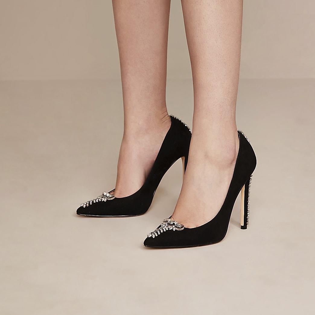 Black Holly Fulton embellished court shoes