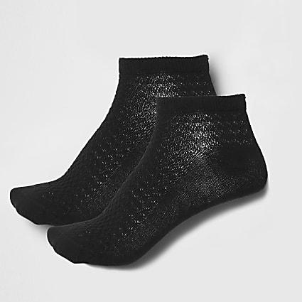 Black textured trainer socks multipack