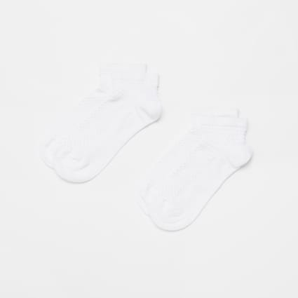 White textured trainers socks 2 pack