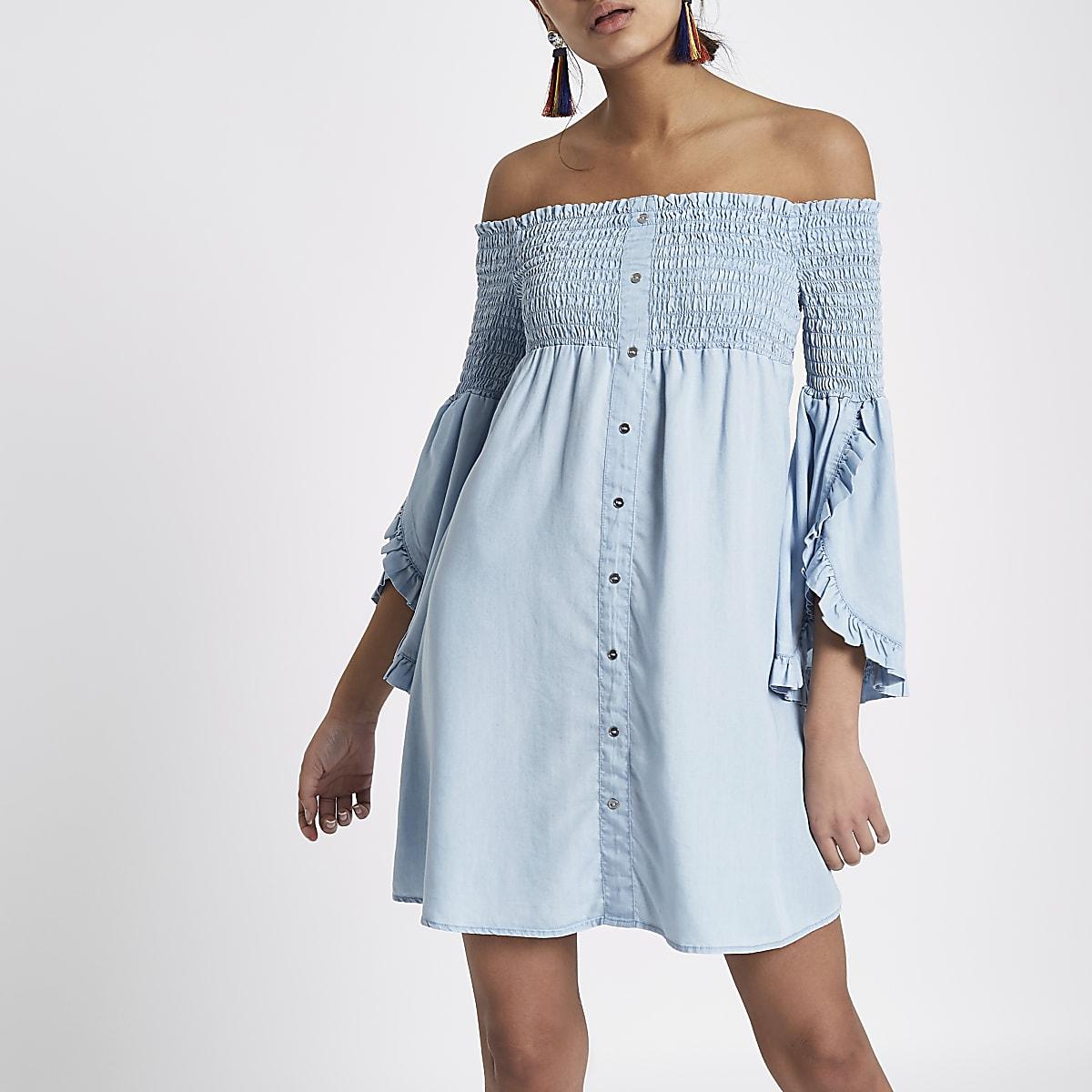 7deea644d6e Light blue shirred bardot denim swing dress - Swing Dresses - Dresses -  women