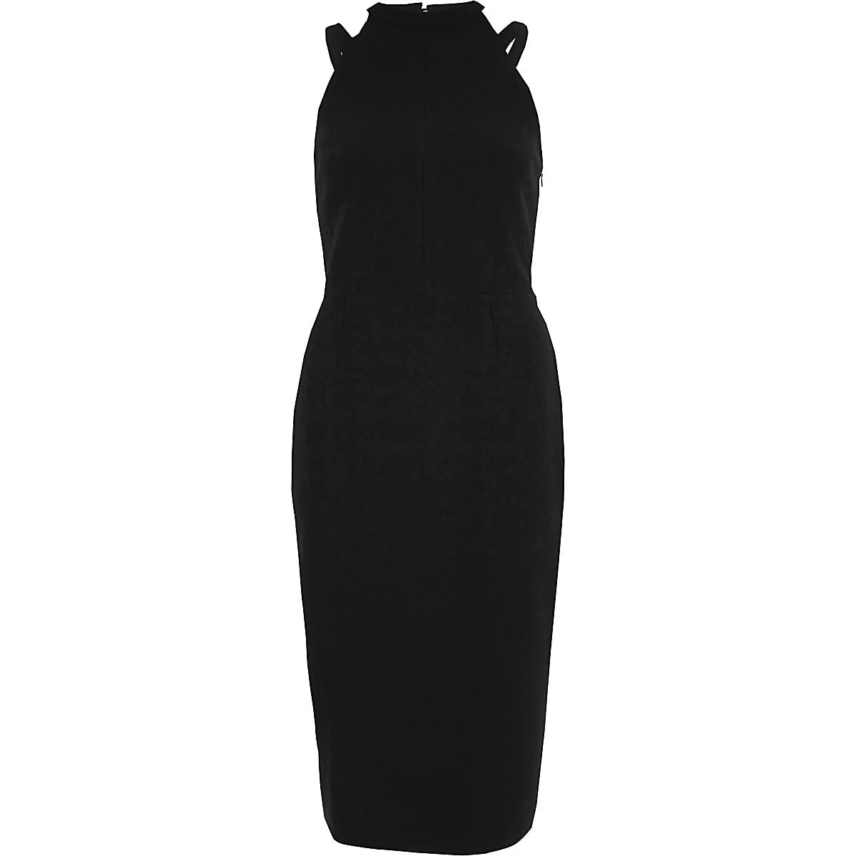 Black sleeveless high neck bodycon dress