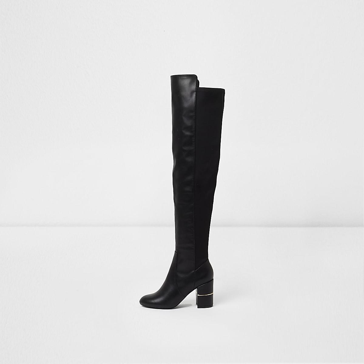 Black over the knee block heel boots