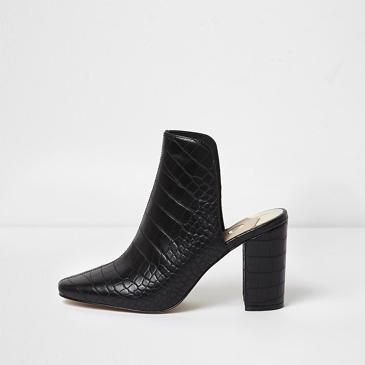 3df5a082cd2e23 Black croc block heel mules - Shoes - Shoes   Boots - women