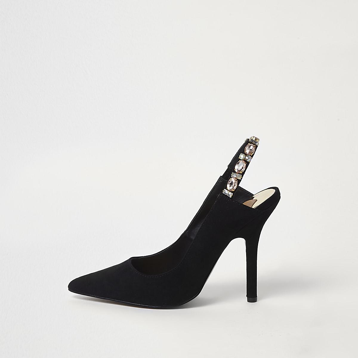 966c6606a4a Black jewel slingback court shoes - Shoes - Shoes   Boots - women