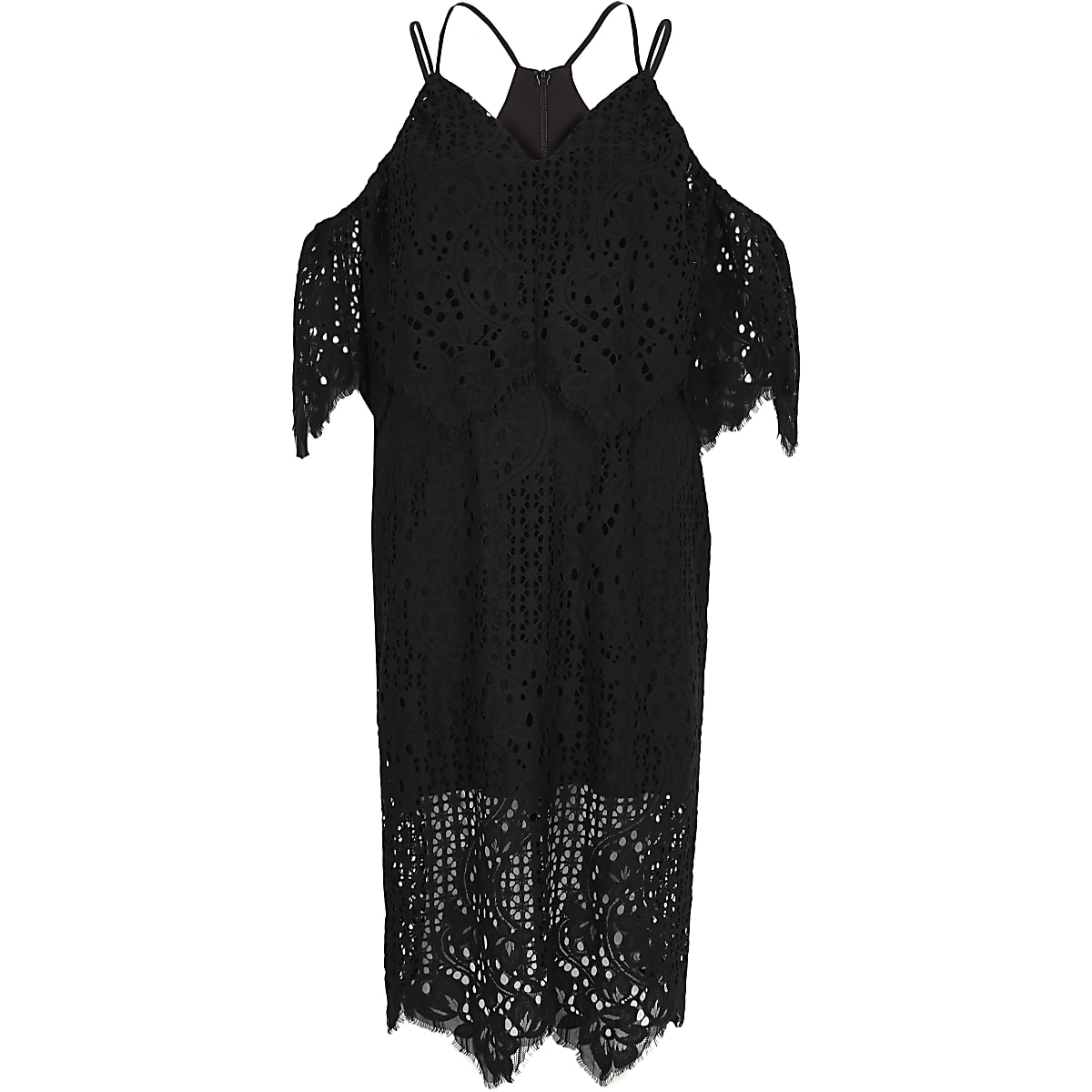 Black broderie lace bodycon midi dress
