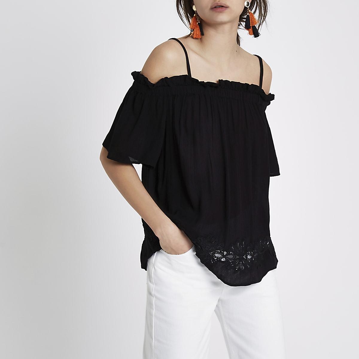 9a46f9aaca9b5 Black cold shoulder crochet hem top - Bardot   Cold Shoulder Tops - Tops -  women