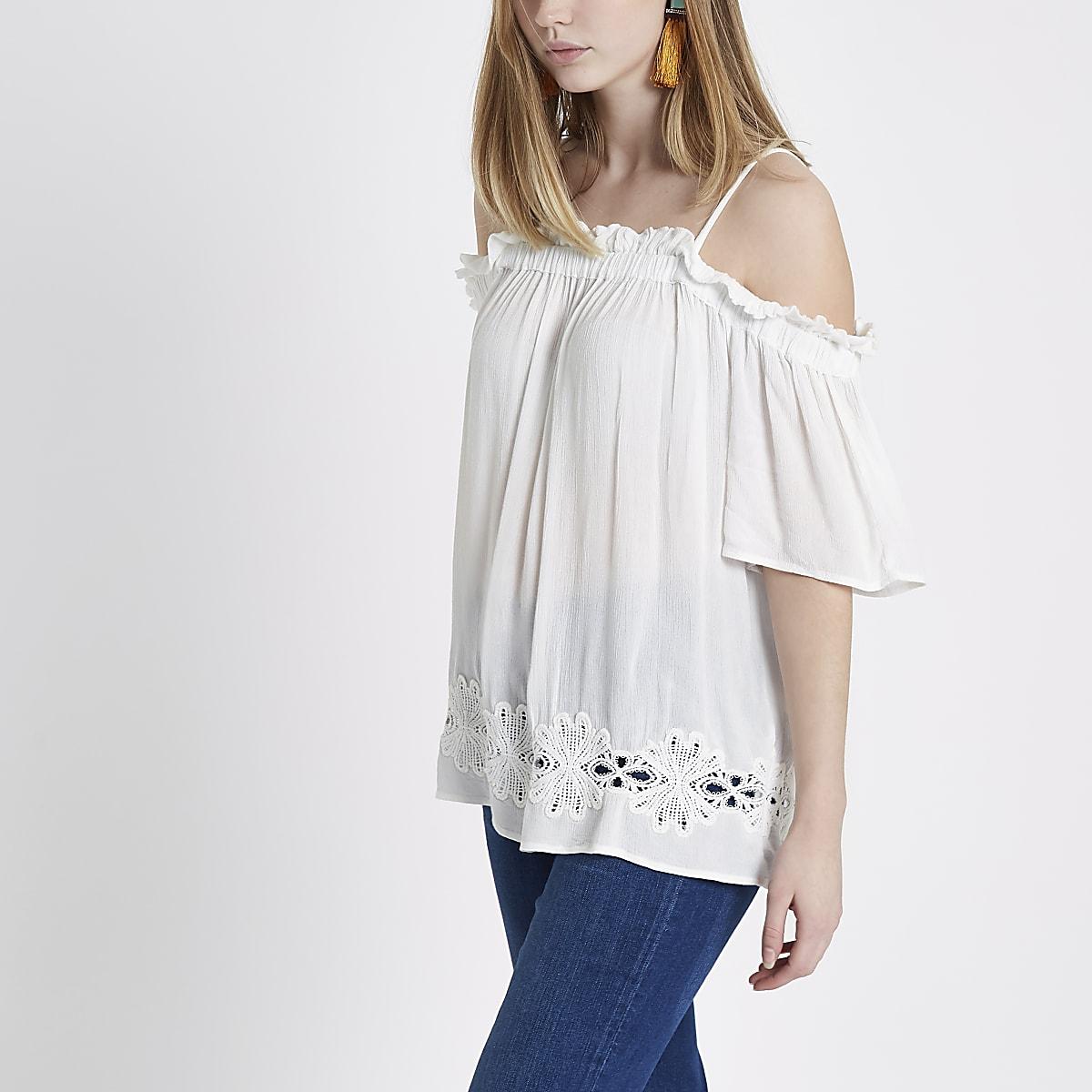 2d91c72f18270 White crochet hem cold shoulder top - Bardot   Cold Shoulder Tops - Tops -  women