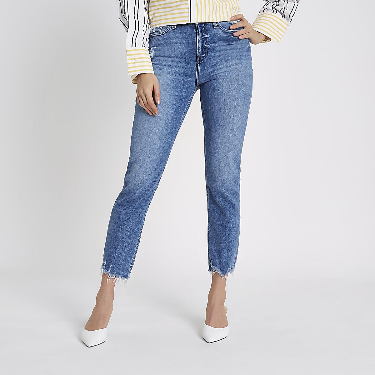 Bella - Blauwe distressed jeans met rechte pijpen