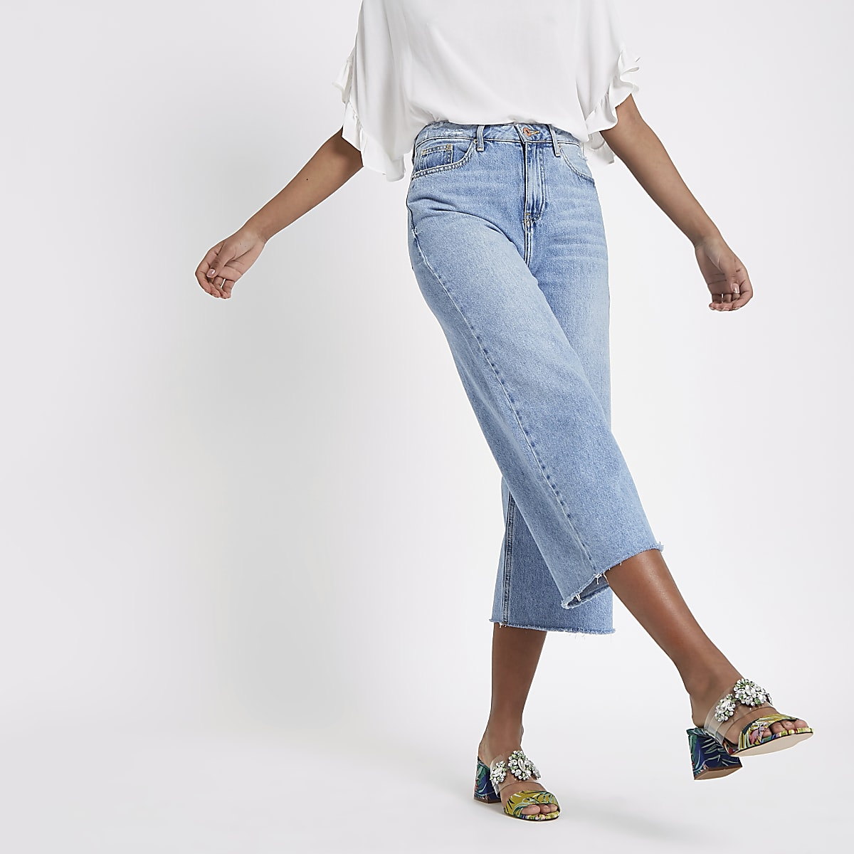 Mid blue Alexa cropped wide leg jeans