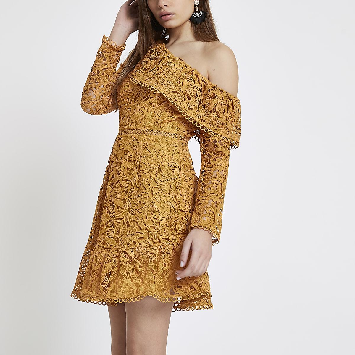 93260fbf0b0 Mustard lace one shoulder frill dress - Skater Dresses - Dresses - women