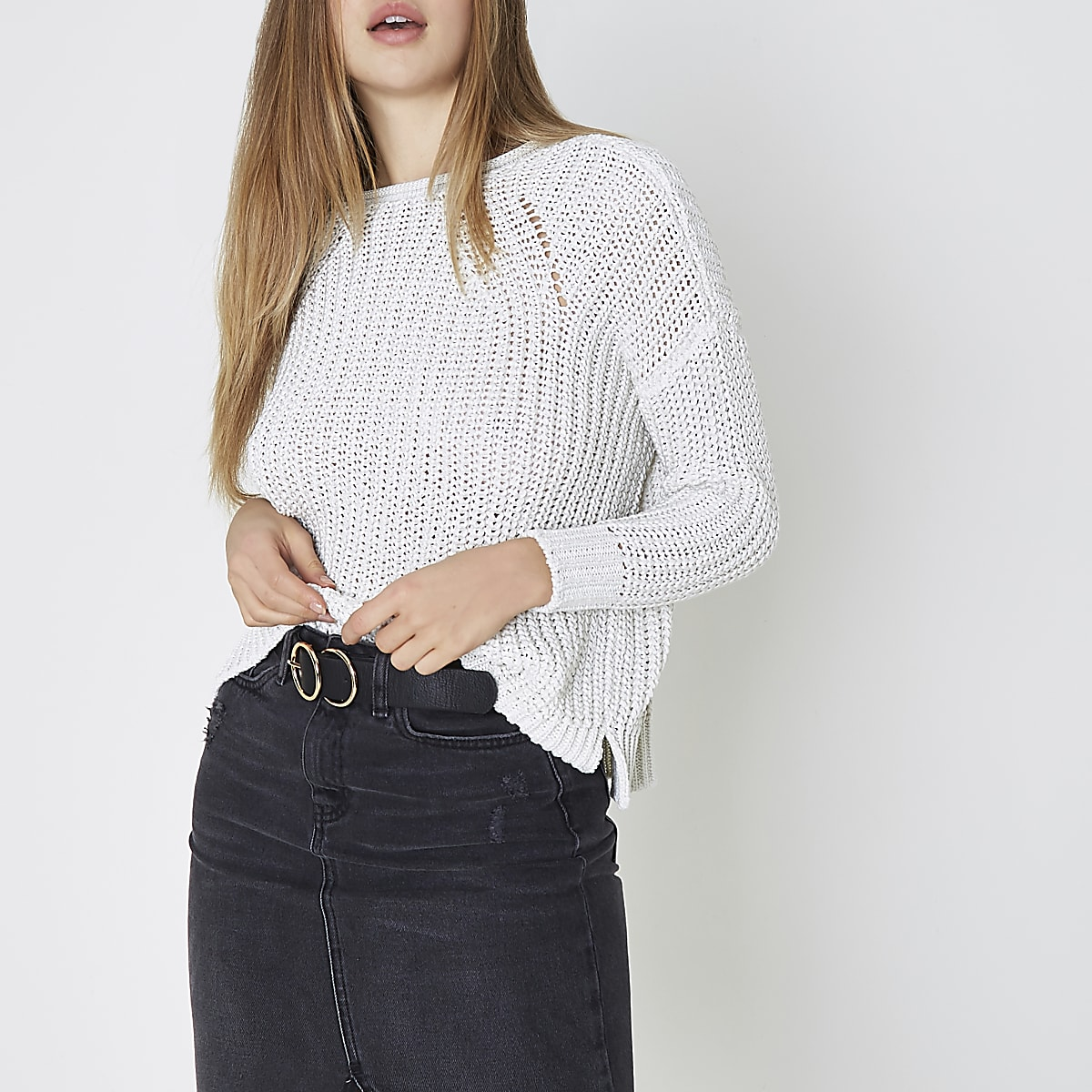 White fisherman rolled crew neck sweater