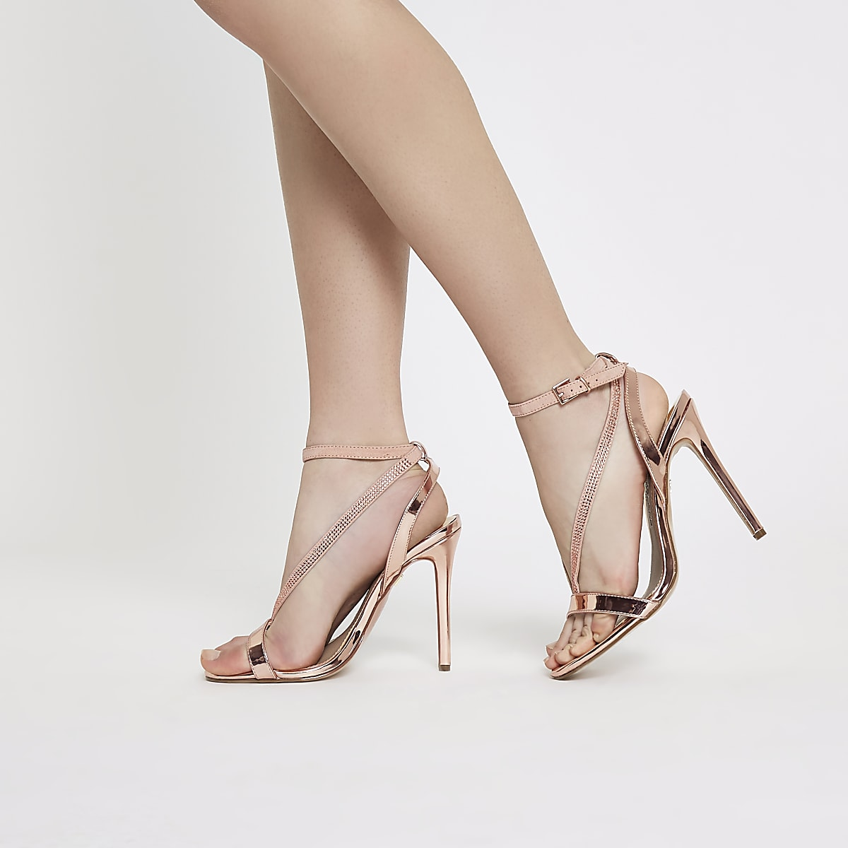 b76f576992b Rose gold wide fit barely there sandals - Shoes - Shoes   Boots - women