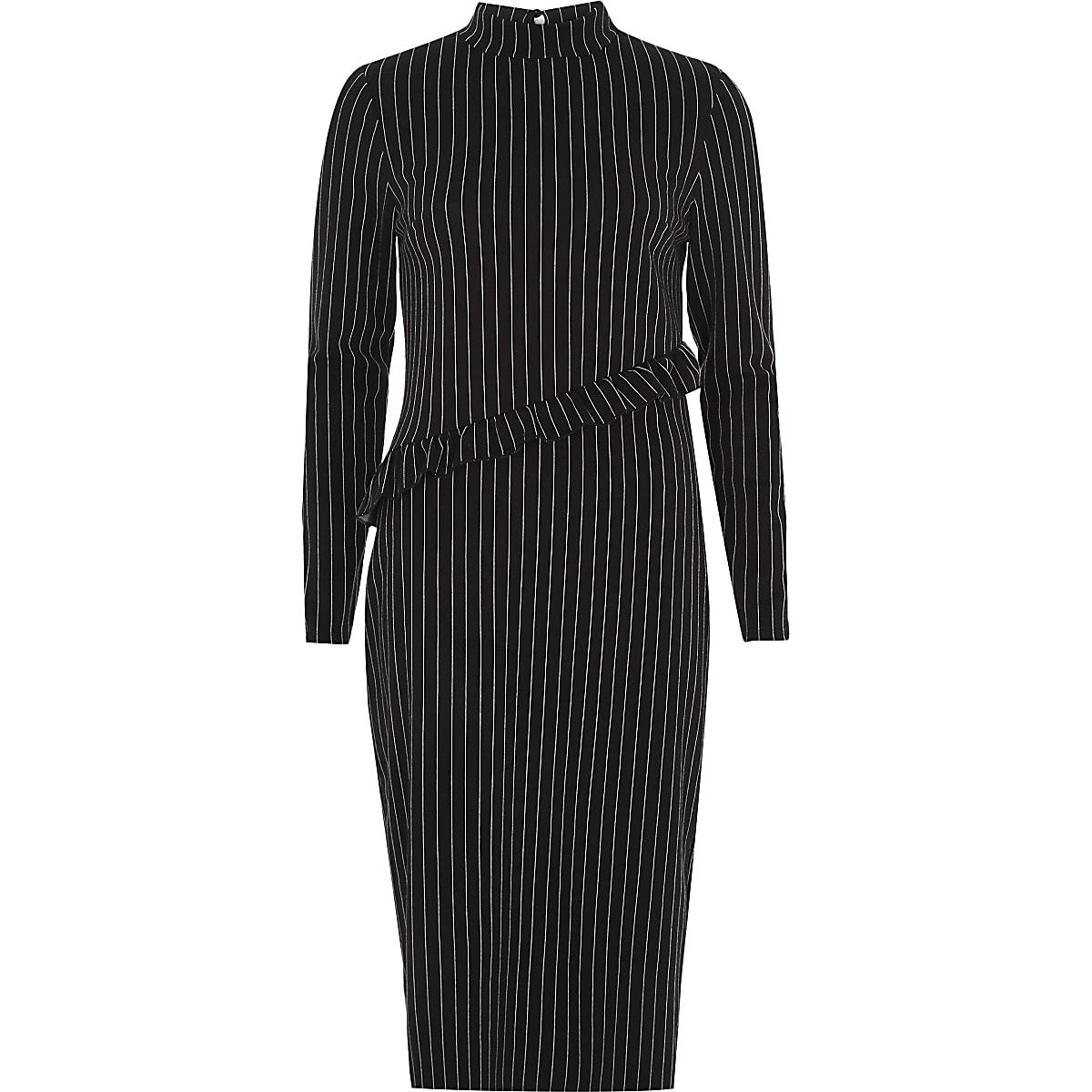 Black pin stripe high neck frill midi dress